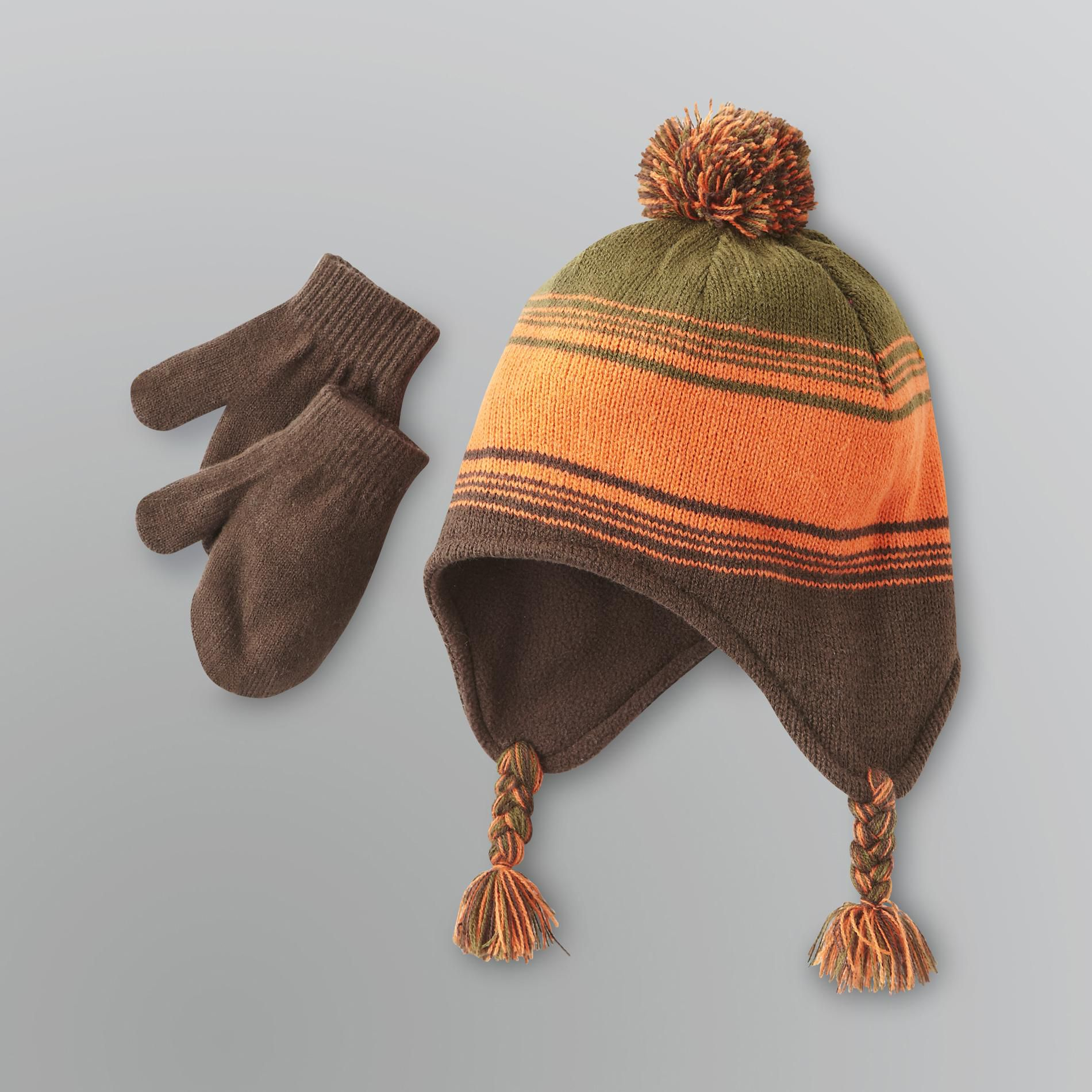 Toddler Boy's Winter Hat & Mittens Set                                                                                           at mygofer.com