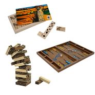 Wild Animal Wood Tumbling Tower, Backgammon and Dominoes at Sears.com
