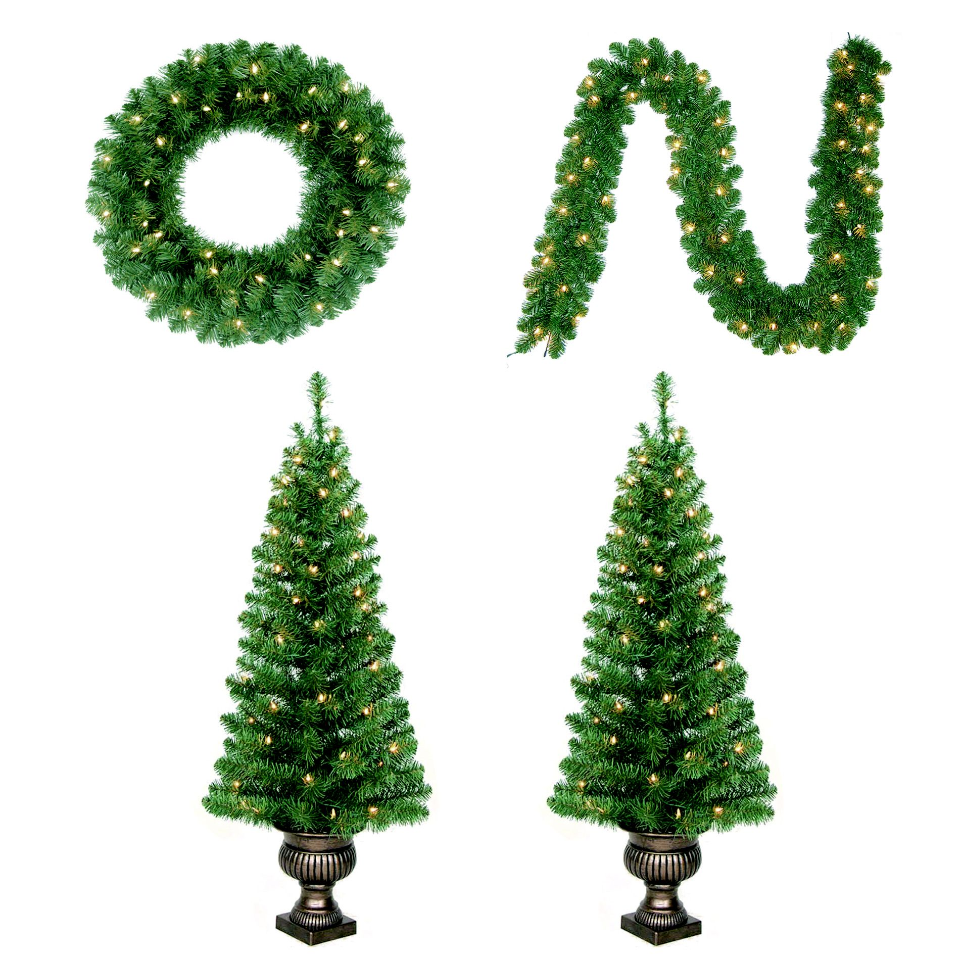 4 Piece Tree, Wreath & Garland Christmad
