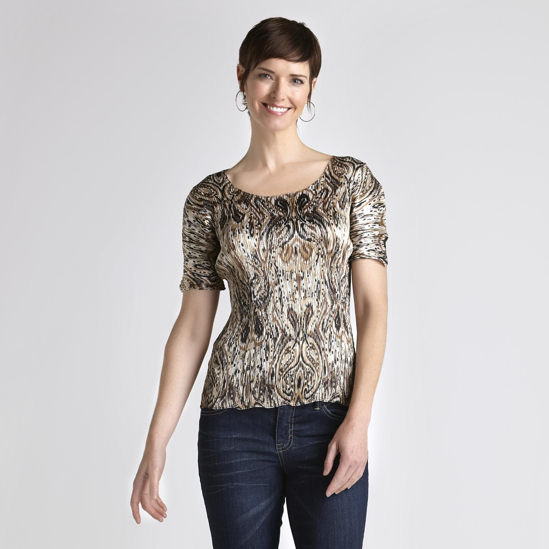 Jaclyn Smith Women's Print Pucker Top at Kmart.com