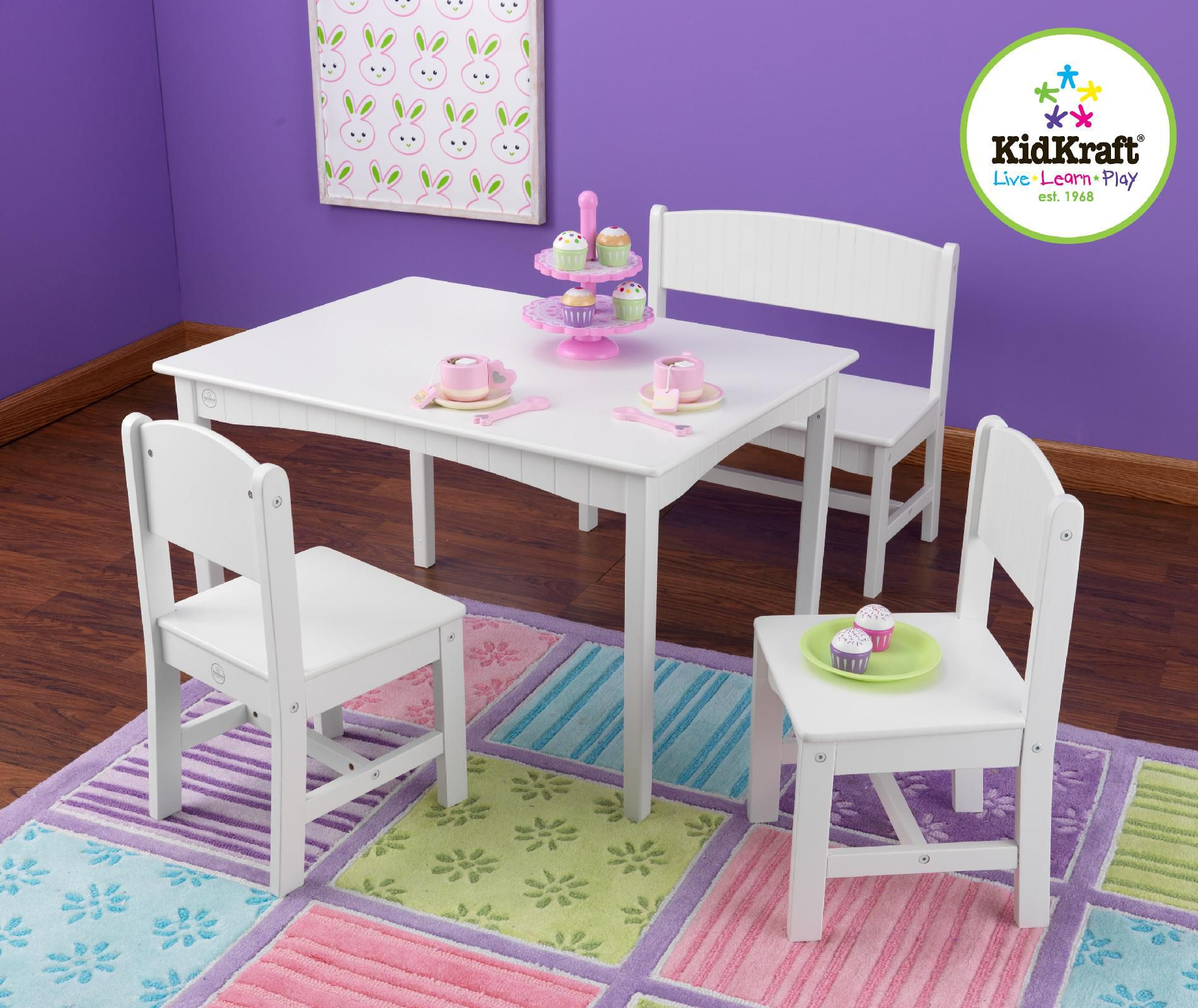 Kidkraft Nantucket Table With Bench Amp 2 Chairs White
