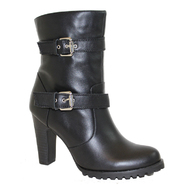 "AdTec Women's 10"" 2-Buckle Biker Boot with Side Zipper Black at Sears.com"