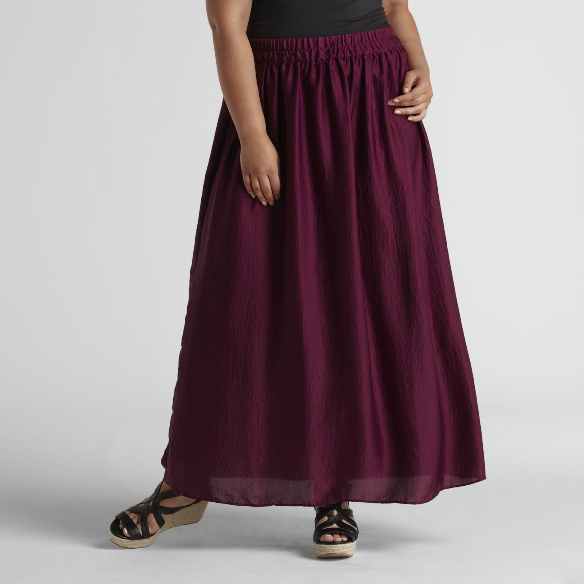 Love Your Style, Love Your Size Women's Plus Crinkled Satin Maxi Skirt