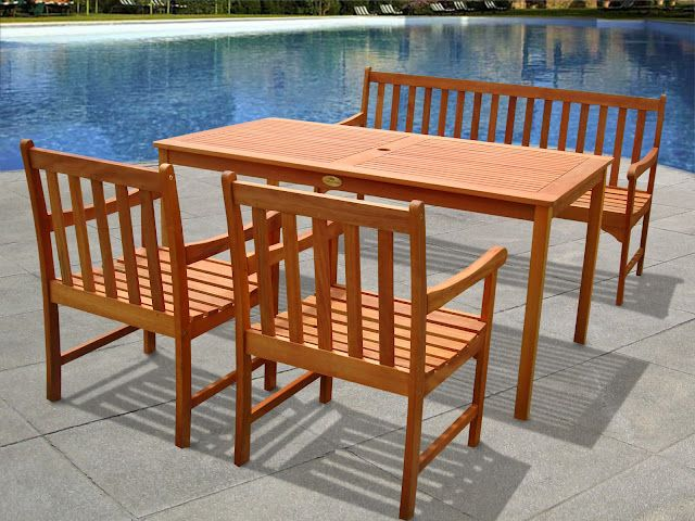 Modica 5pc Wood English Garden Patio Dining Set