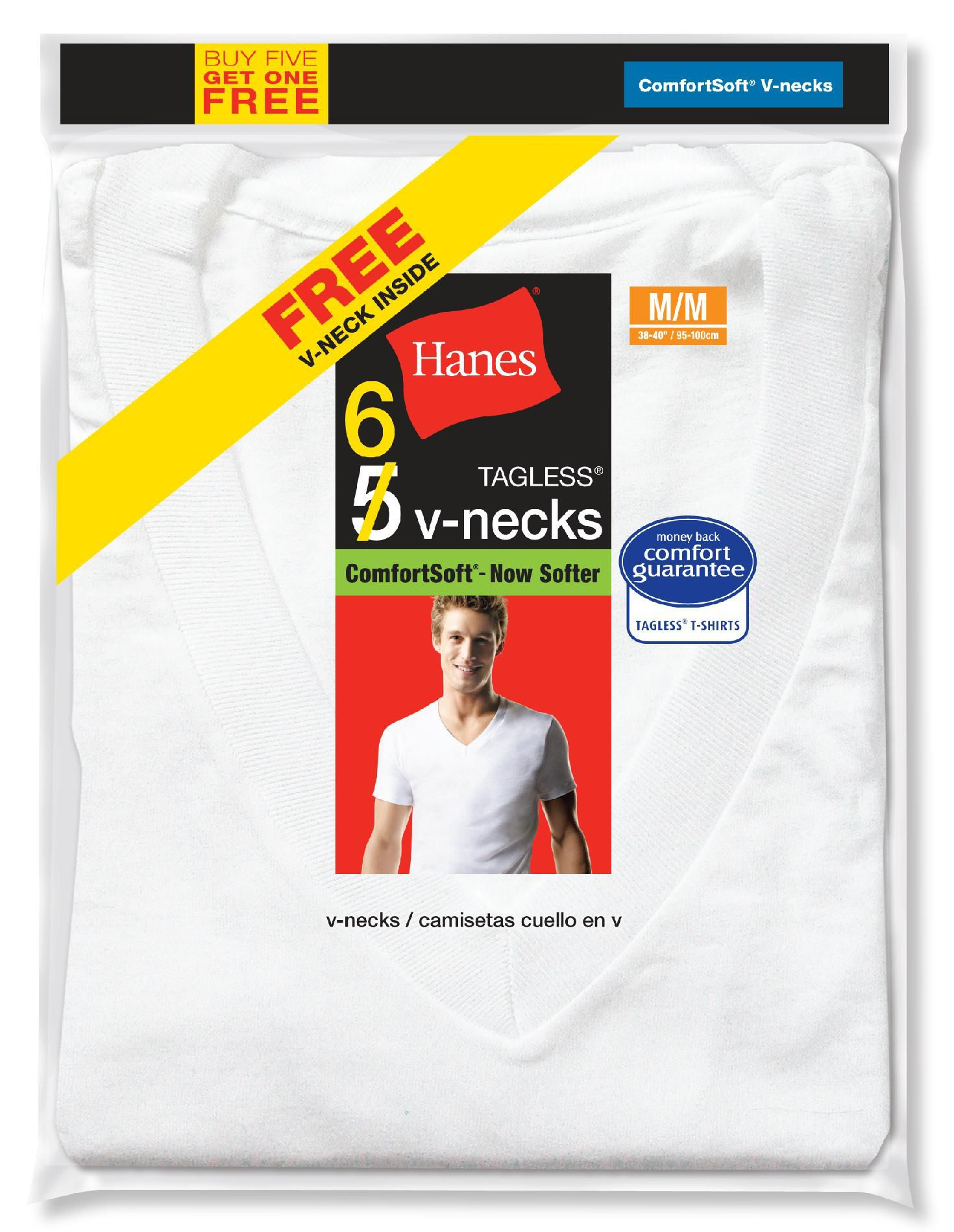 Hanes Men's T-Shirts 6pk Short Sleeve V-Neck Comfort Soft