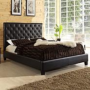 Oxford Creek Dark Brown Vinyl Tufted King Platform Bed at Kmart.com