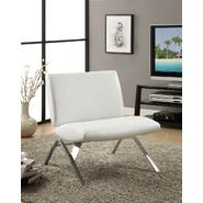 Monarch Specialties White Leather-Look / Chrome Metal Modern Accent Chair at Kmart.com