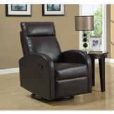 Monarch Specialties Dark Brown Bonded Leather Swivel Rocker Recliner at mygofer.com
