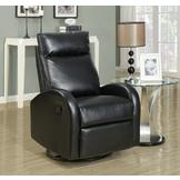 Monarch Specialties Black Bonded Leather Swivel Rocker Recliner at mygofer.com