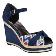 Lady Godiva Women's Caley Wedge Sandal - Navy at Kmart.com