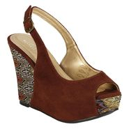 Lady Godiva Women's Cleo Printed Wedge Sandal - Brown at Kmart.com