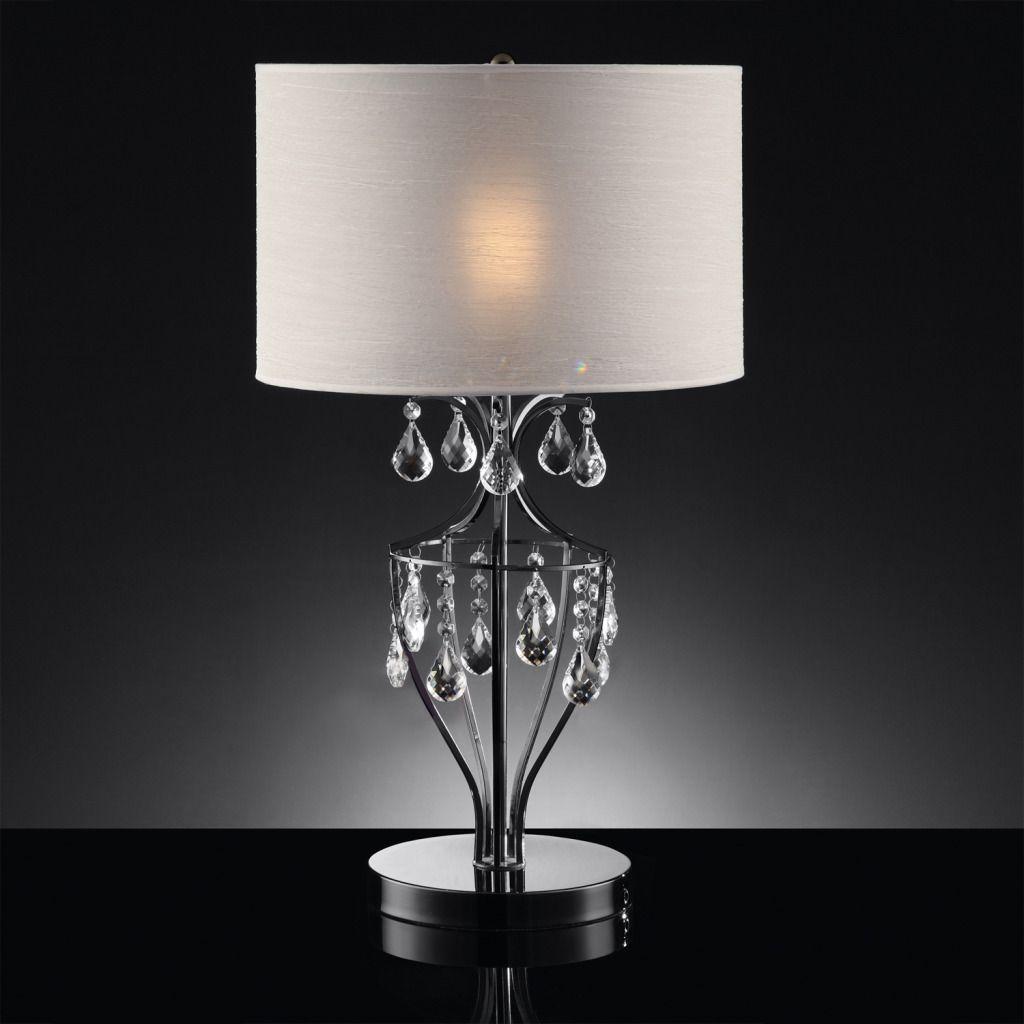 Oxford Creek Crystal Pendant Chrome Table Lamp
