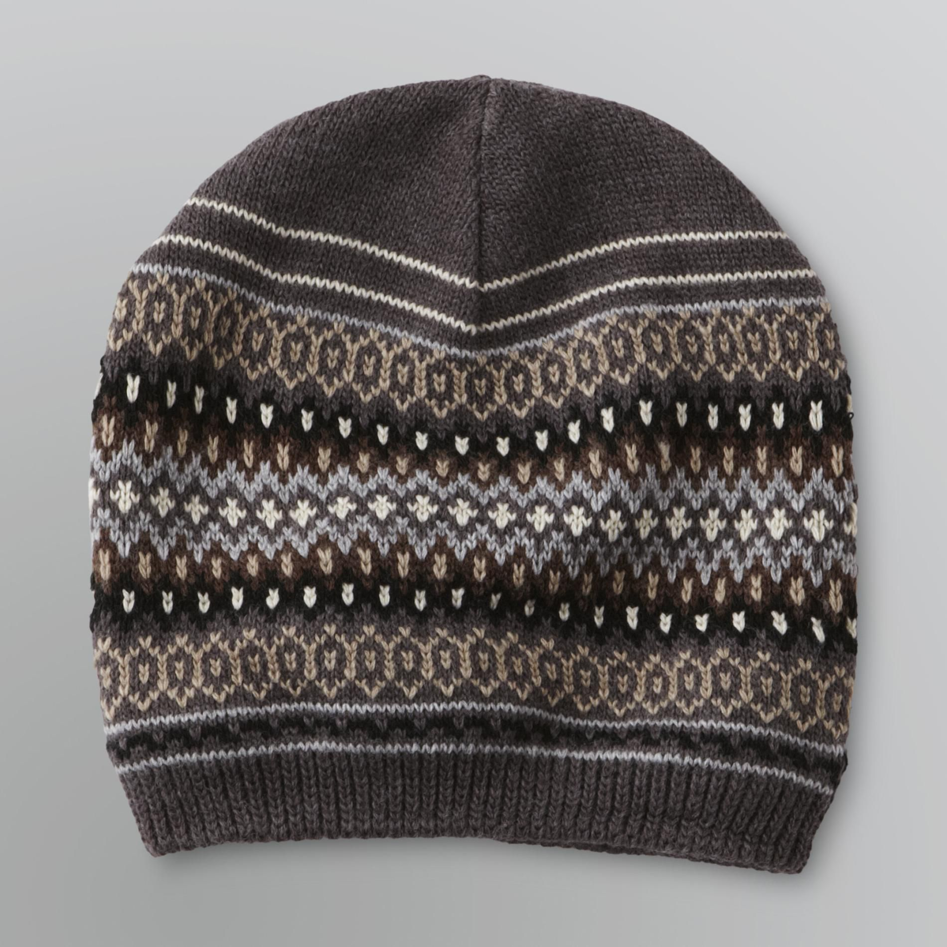 Men's Fleece Lined Beanie Hat - Fair Isle                                                                                        at mygofer.com