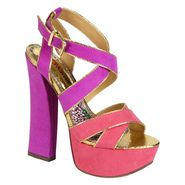 Bongo Women's Anastasia Colorblock Dress Sandal - Fuchsia/Purple at Kmart.com