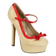 Bongo Women's Bridget Bow Platform Pump - Beige/Red at Kmart.com