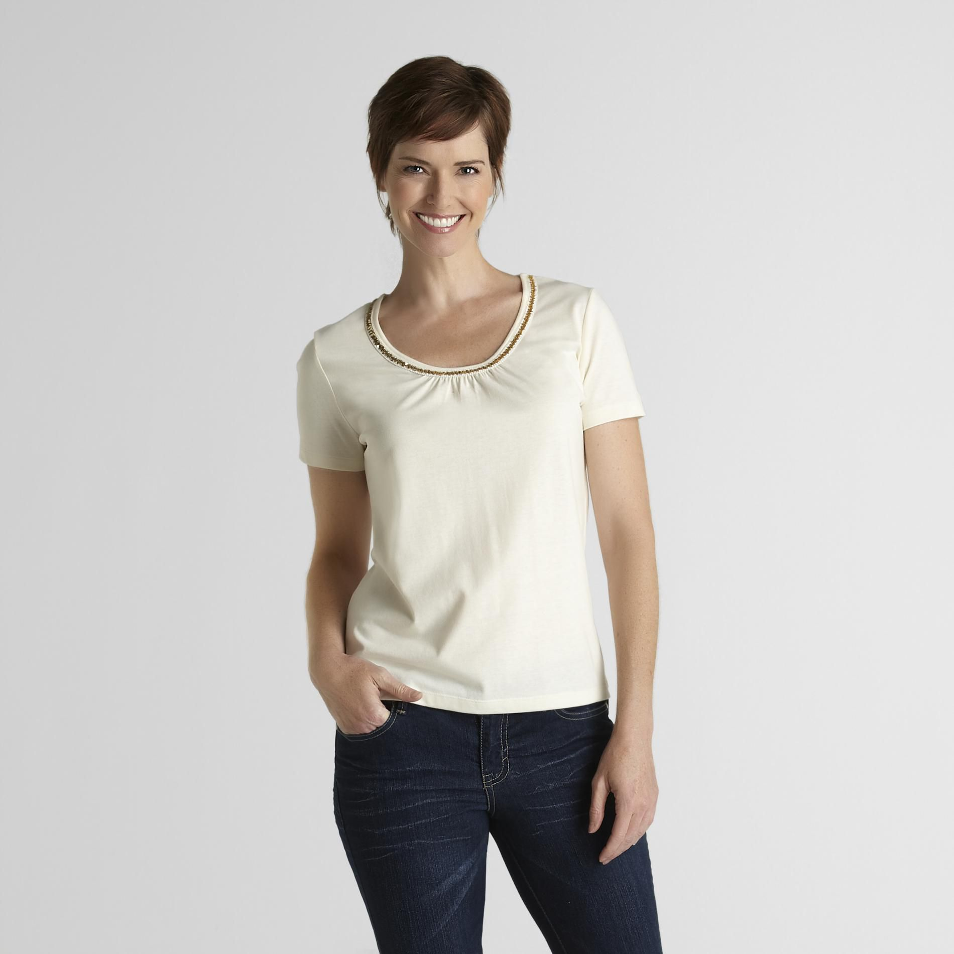 Jaclyn Smith Women's Necklace T-Shirt at Kmart.com