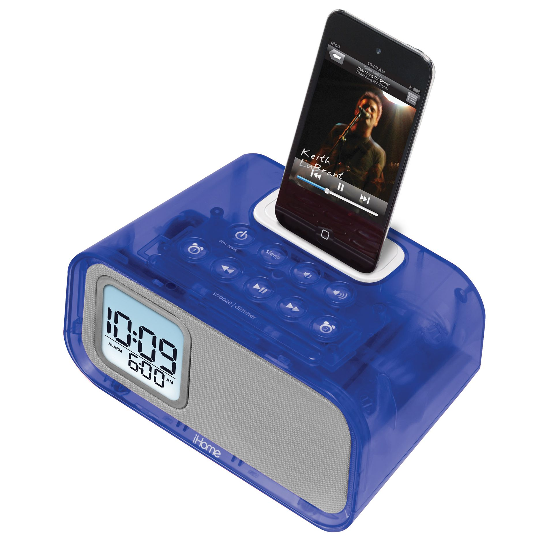 iHOME iH22 Dual Alarm Clock for iPod Blue