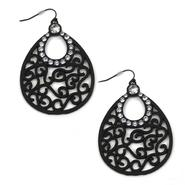 Sofia by Sofia Vergara Women's Earrings Filigree Stone Shiny Black at Kmart.com