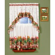"Country Garden - Printed Tier and Swag Set - Multi Available in 57"" x 24"" and 57"" x 36"" at Sears.com"