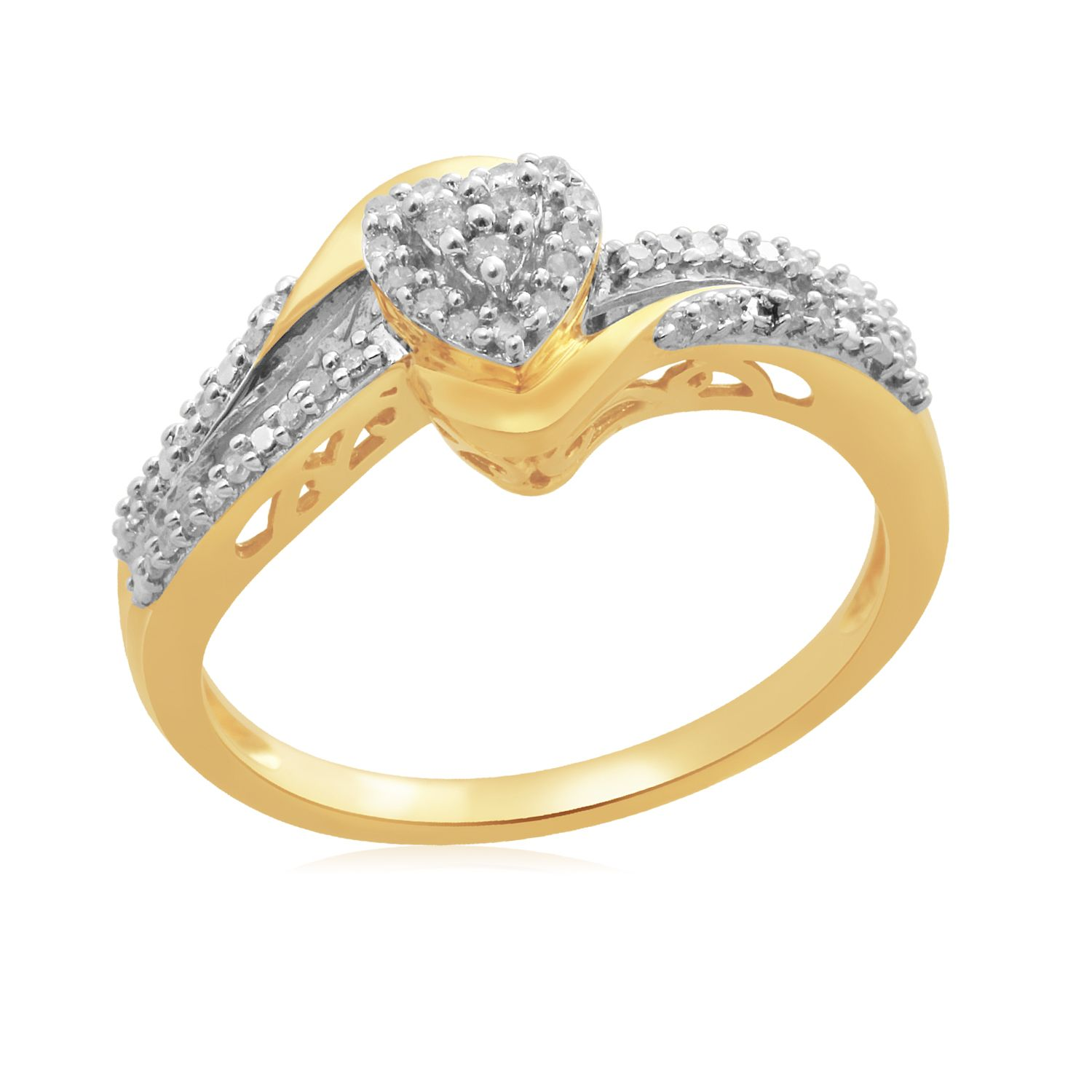 Eternal Treasures Gold over Silver 1/6ct Diamond Heart Eternal Treasures Promise Ring