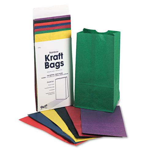 Pacon Rainbow Bags, 6# Uncoated Kraft Paper, 6 x 3 5/8 x 11, Assorted Bright, 28/Pack PAC0072140