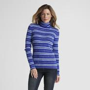 Basic Editions Women's Striped Ribbed Turtleneck at Kmart.com
