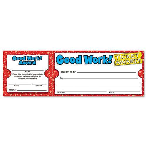 GOOD WORK TICKET AWARDS, 8 1/2W X 2 3/4H, 100 2-PART TICKETS/PACK PartNumber: 025V003394042000P KsnValue: 025V003394042000 MfgPartNumber: SHS0439652073