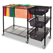 MOBILE FILE CART W/DRAWERS, 38W X 15-1/2D X 28H, BLACK at Kmart.com