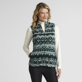 Basic Editions Women's Fleece Vest - Fair Isle at Kmart.com