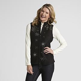 Basic Editions Women's Fleece Vest - Snowflake at Kmart.com