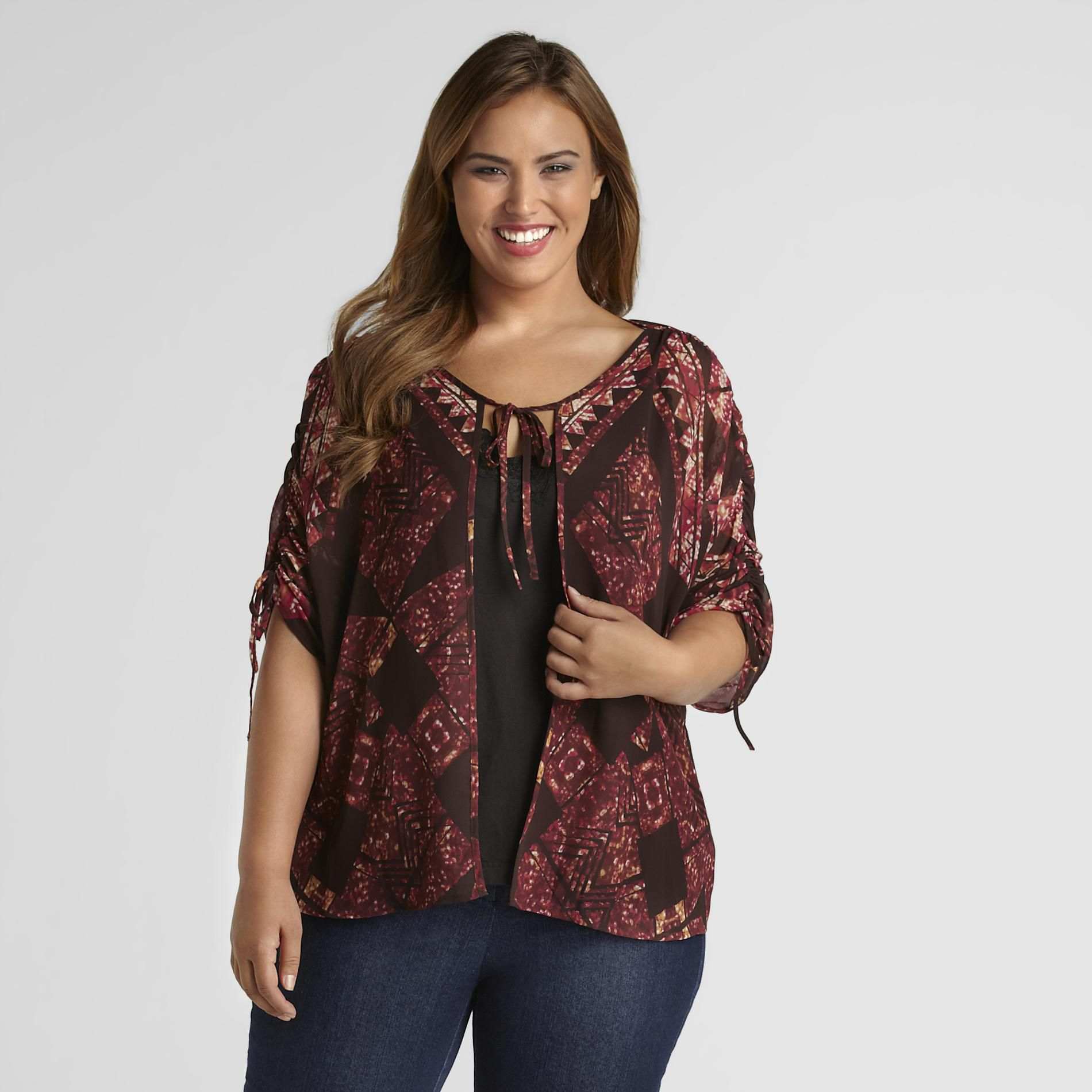 Love Your Style, Love Your Size Women's Plus Flyaway Blouse - Geometric Print
