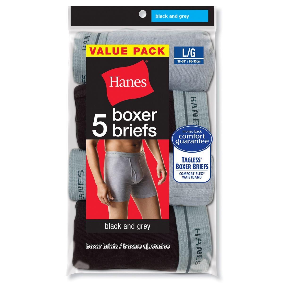 Men's Boxer Briefs 5 Pk Black and Gray