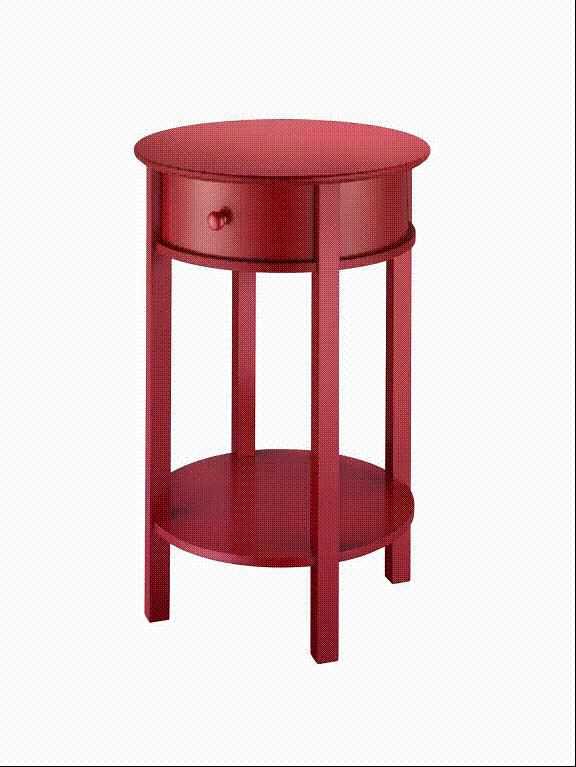 Red Accent Table Round