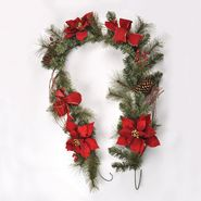 Sandra by Sandra Lee Merry Holiday 6' Pinecone Poinsetta, Red Ribbon Garland at Kmart.com