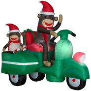 Gemmy Christmas Airblown Sock Monkeys in Scooter Scene at Kmart.com