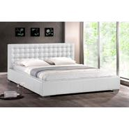 Baxton Madison White Modern Bed with Upholstered Headboard (Queen Size) at Kmart.com