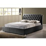 Baxton Bianca Black Modern Bed with Tufted Headboard (Queen Size) at Kmart.com