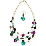 Jaclyn Smith Necklace/Earring Set 4 Row Illusion Shell Multicolored at Kmart.com