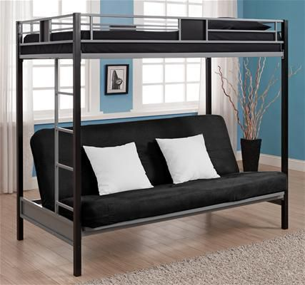 DHP  Twin Futon Bunk Bed Silver Screen