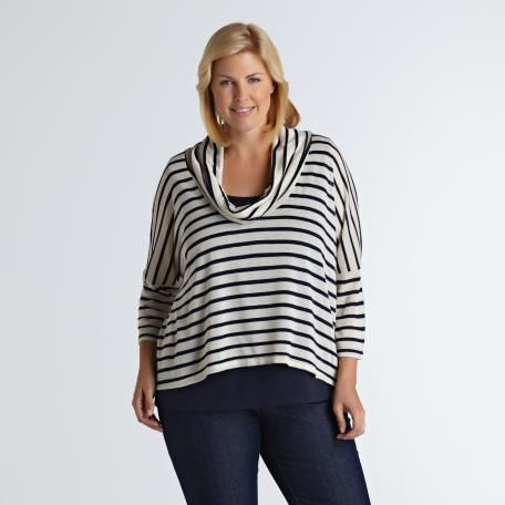 Love Your Style, Love Your Size Women's Plus Cowl Neck Stripe Sweater