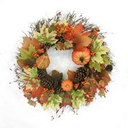 Be Thankful 20in Harvest Wreath with Pumpkin and Maple Leaves at Kmart.com