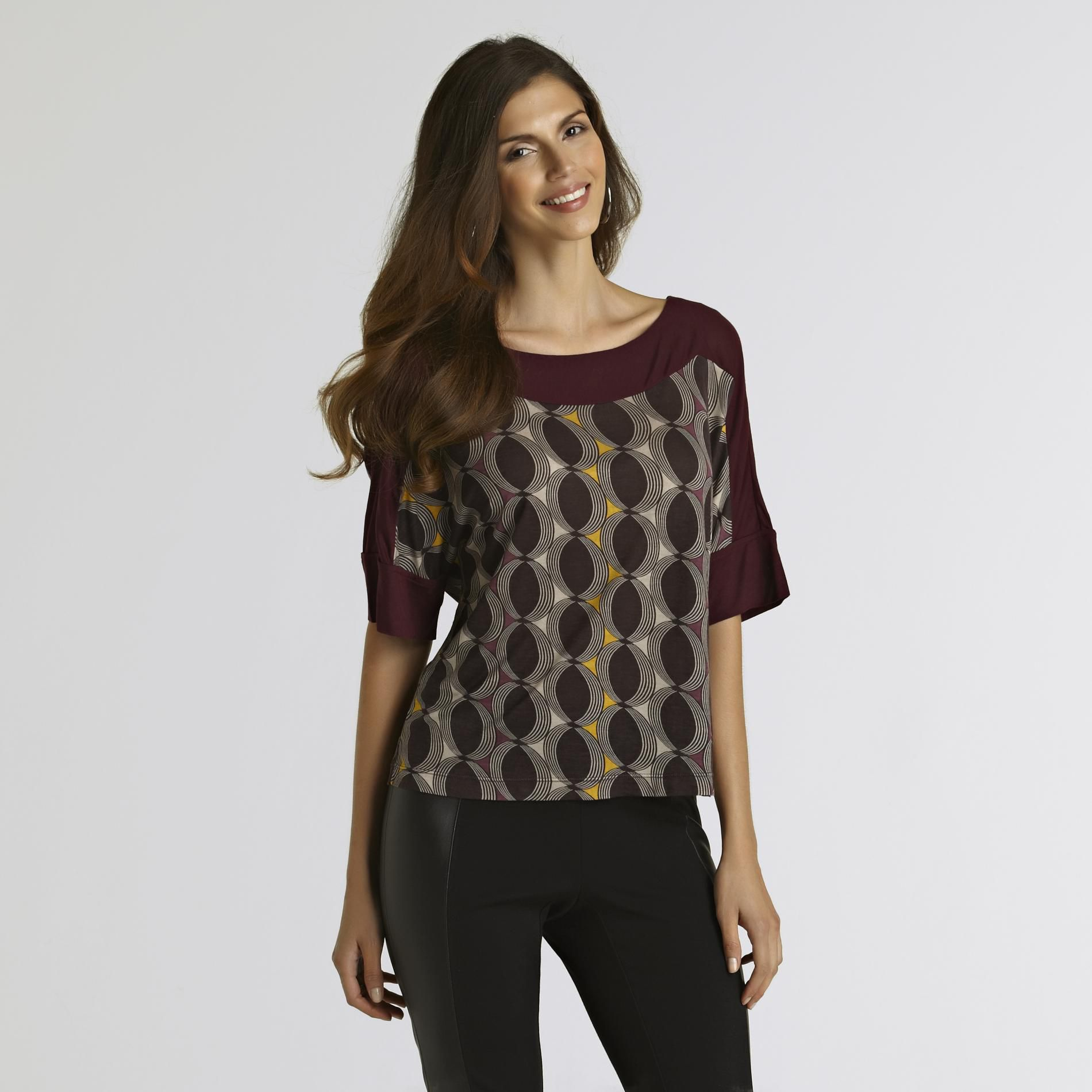 UK Style by French Connection Women s Knit Top Geometric Ovals at Sears.com