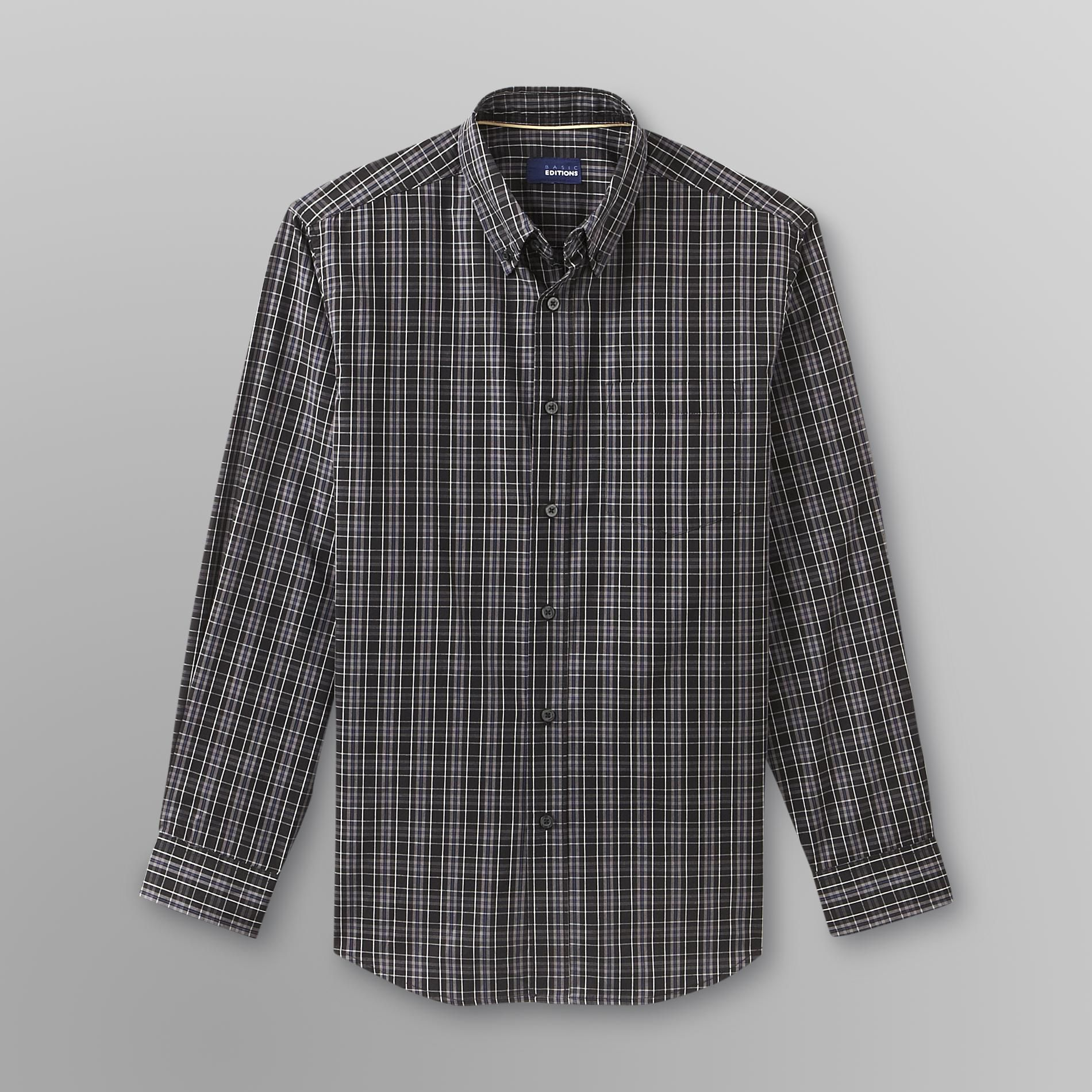 Basic Editions Men's Easy Care Long Sleeve Shirt - Plaid