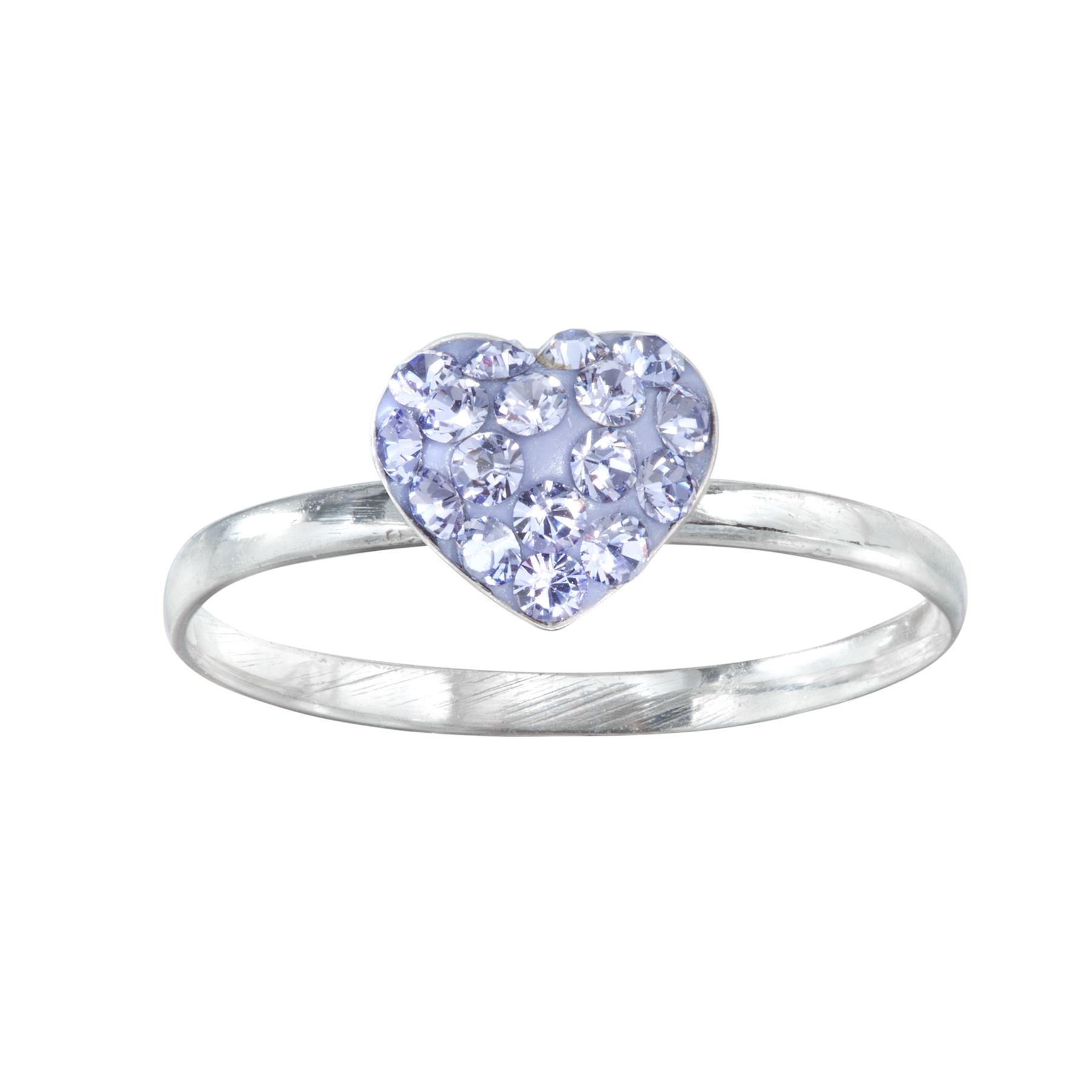 Sterling Silver Purple Crystal Heart Ring