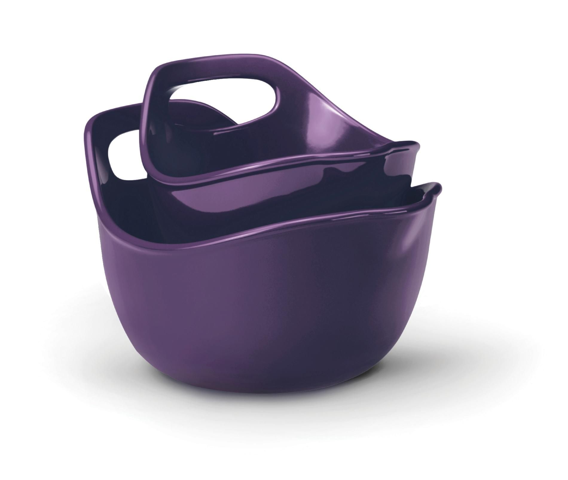 Rachael Ray Stoneware, Mixing Bowls 2-Piece Set: 1-Quart and 2-Quart, Purple PartNumber: 00828836000P KsnValue: 00828836000 MfgPartNumber: 58068