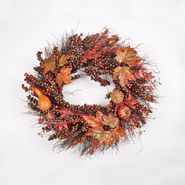 Be Thankful 22in Harvest Wreath with Pumpkin and Metallic Berries at Kmart.com
