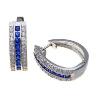 Grand Luxe Simulated Sapphire Rhodium Plated Hoop Earring at Sears.com