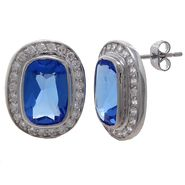 Grand Luxe Simulated Sapphire Rhodium Plated Post Earring at Sears.com
