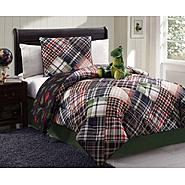 Furry Friends Dinosaur Plaid 3 Piece Twin Comforter Set at Kmart.com