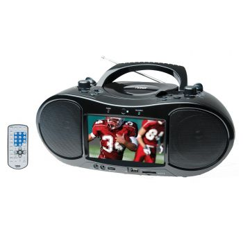 "Naxa NDL-254 7"" TFT LCD Display Portable DVD Player with AM/FM Stereo Radio, USB Input, SD/MMC Card Slot & AC/DC Power"
